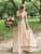 Amazing Embroidery Champagne Sparkly Wedding Dress with Sleeves A Line Rustic Wedding Dress PIN7112|CathyProm