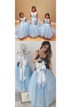 Sleeveless Backless Tulle Floral Satin Bowknot Ball Gown Flower Girl Dresses OHR035 | Cathyprom