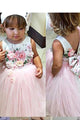 Sleeveless Pink Tulle Floral Satin Bowknot Ball Gown Flower Girl Dresses OHR034 | Cathyprom