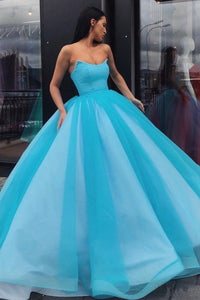 Pretty Ball Gown Blue Tulle Strapless Floor Length Lace Up Sweet Prom Dress OHC412  | Cathyprom