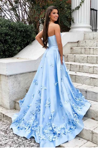 A-Line Sweetheart Sky Blue 3D Floral Applique Long Prom Dresses 2020 LPD7