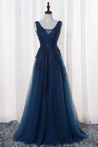 A-Line V-neck Floor length Sleeveless Tulle Prom Dress/Evening Dress With Appliques  OHC272 | Cathyprom
