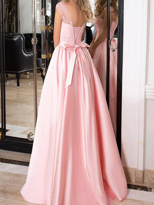 Simple A-line Scoop Sleeveless Long Satin Pink Prom Dress/Evening Dress OHC286 | Cathyprom