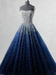 Sexy Strapless Ball Gown Amazing Beaded Prom Dress Navy Modest Tulle Prom/Evening Dress SM1172|CathyProm