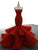 Sexy Strapless Mermaid Prom Dress Lace-Up Ruffle Skirt Unique Burgundy Lace Prom/Party Dresses SM7713|CathyProm