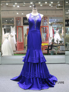 Royal Blue Luxury Beaded Mermaid Prom Dress with Sweep Train Sexy See Though Back Prom/Evening Dress SM7714|CathyProm
