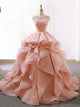 Ball Gown Ruffle Skirt Prom Dress Stunning Beaded Blush Open Back Prom Evening Dress SM7715|CathyProm