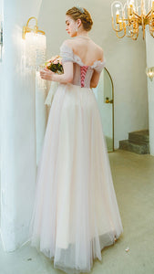 Cap Sleeves A Line Floor Length Elegant Tulle Prom Dress Unique Embroidery Prom Evening Dress SMT0717|CathyProm