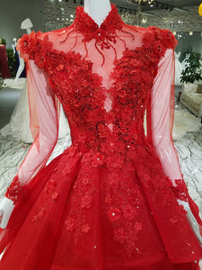 Unique High Neck Appliques Ball Gown Luxurious Beaded Long Sleeve Prom Evening Dress SMT07171|CathyProm