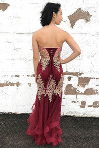 Sexy Burgundy Tulle Strapless Sleeveless Long Lace Up Multi-layered Evening Dress Prom Dresses OHC407 | Cathyprom