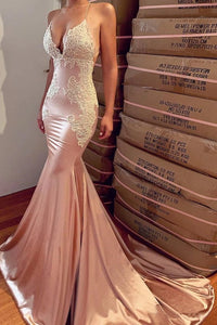 Sexy Mermaid Backless Prom Dress Nude V Neck Long Lace Spaghetti Straps Prom Dresses CP616