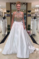 Shinning Two Pieces Strapless Rhinestone Long White Satin Prom Dresses OHC479 | Cathyprom