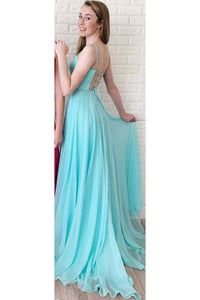Simple A Line Long Square Neck Sleeveless Lace Up Open Back Prom Dress Evening Dress OHC420 | Cathyprom