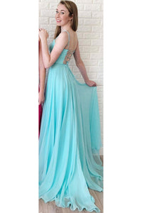 Simple A Line Long Square Neck Sleeveless Lace Up Open Back Prom Dress Evening Dress OHC420