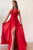 Simple A Line Red Chiffon Halter Strapless Long Open Back Prom Dress With Slit OHC396 | Cathyprom