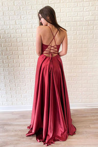 Simple A Line Red Satin V neck Side Slit Criss-Cross Straps Long Prom Dress Evening Dress OHC397 | Cathyprom