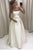 Simple A Line Strapless Long Ivory Satin Prom Dresses With Bowknot OHC490 | Cathyprom
