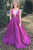 Simple A-Line V-Neck Sweep Train Fuchsia Prom Dress with Beading Pockets OHC501 | Cathyprom