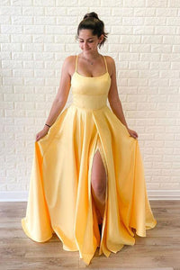Simple A Line Yellow Satin Spaghetti Straps Sleeveless Long Slit Prom Dress Evening Dress OHC399 | Cathyprom
