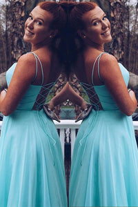 Simple Blue Chiffon Spaghetti Straps Sleeveless Long Prom Dress Party Dress OHC393 | Cathyprom