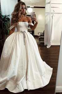 Simple White Satin Off The Shoulder Long Senior Prom Dress Evening Dress With Beading OHC425 | Cathyprom