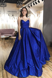 Sparkle A-Line Royal Blue Tulle Strapless V-neck Sequins Prom Dress with Pockets OHC446 | Cathyprom