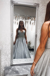 Sparkle A-Line V-neck Spaghetti Straps Silver Long Sleeveless Prom Dress with Pockets OHC445 | Cathyprom