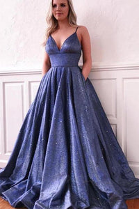 Sparkle A-line Deep V neck Spaghetti Straps Sequins Prom Dress with Pockets OHC443 | Cathyprom