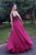 Sparkly A Line Burgundy Chiffon Long Open Back Beaded Senior Prom Dresses OHC485 | Cathyprom