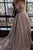 Sparkly A-Line Deep V-Neck Backless Court Train Silver Prom Dress with Sequins OHC438 | Cathyprom
