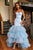 Sparkly Mermaid Sky Blue Tulle Sweetheart Neck Long Layered Evening Dress Prom Dress OHC424 | Cathyprom