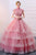 Spring Pink Tulle A-Line Long Winter Formal Prom Dress Cap Sleeves Evening Dress With Appliques OHC481 | Cathyprom
