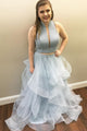 Stunning Light Blue Tulle Two Piece Long Beaded Ruffles Prom Dress Evening Formal Dress OHC477 | Cathyprom