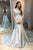 Stunning Mermaid Grey Tulle Lace Satin Sweetheart Floor Length Prom Dresses OHC499 | Cathyprom