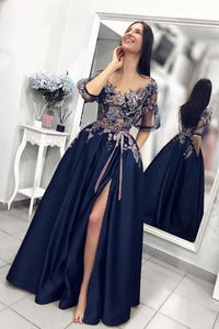 Stylish A Line Round Neck Deep Blue Satin Mid Sleeve Slit Long Lace Prom Dress With Sash OHC419 | Cathyprom