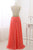 Sweet Scoop Neck Coral Chiffon Sleeveless Long Pearl A-line Prom Dress OHC474 | Cathyprom