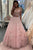Two Pieces Off The Shoulder Sleeveless Lace Long Pink Tulle Prom Dress Party Dress OHC423 | Cathyprom