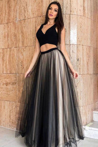 Two Pieces Sleeveless Floor Length Black Tulle Long Evening Dress Prom Dress OHC402 | Cathyprom