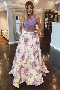 Two Pieces Floral Print Top Lace Purple Prom Dresses, Scoop Party Dresses with Pockets CP710