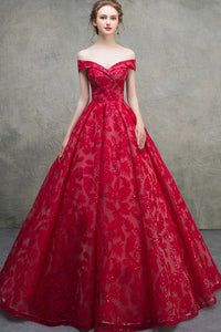 Unique Red Lace Off The Shoulder Lace Up Short Sleeves Long Senior Prom Dress Prom Gown OHC418 | Cathyprom