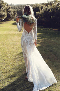 Exquisite Lace Long Sleeve Boho Wedding Dress Sexy Backless Rustic Wedding Dress Bridal Gown YRL115|CathyProm