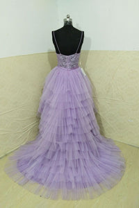 Beautiful High Low Spaghetti Straps Sweep Train Sleeveless Long Tulle Prom/Evening Dress OHC232 | Cathyprom