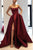 Burgundy Strapless Bodice Corset Long Sleeveless Evening Gowns With Leg Split, Prom Dress CA723