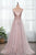 A-line Spaghetti Straps See Through Sleeveless Beading Long Tulle Prom Dress With Slit Evening Dress OHC296 | Cathyprom