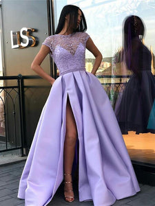 BohoProm prom dresses Stunning Tulle & Satin Cap Sleeves A-line Prom Dresses With Beadings PD236