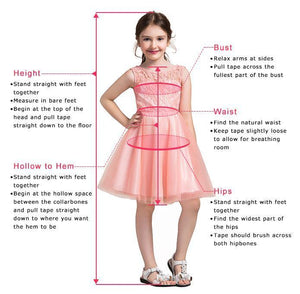 A-line Knee length Tulle Flower Girl Dress with Lace Party Dress OHR021