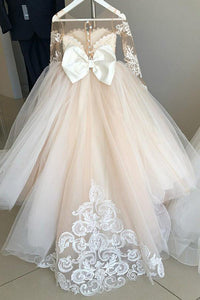 Long Sleeve Tulle Ivory Scoop Flower Girl Dresses with Lace Bowknot OHR001 | Cathyprom