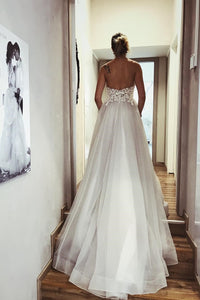 A Line Backless Bohemian Wedding Dresses V Neck Tulle Appliques Wedding Gown Bohemian Bridal Gown OHD190