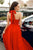 Simple Charming A Line Halter Sweep Train Sleeveless Open Back Long Red Chiffon Prom Dress OHC341 | Cathyprom