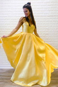 A Line Spaghetti Straps Sleeveless Long Bright Yellow Satin Prom Dresses Evening Dress OHC331 | Cathyprom
